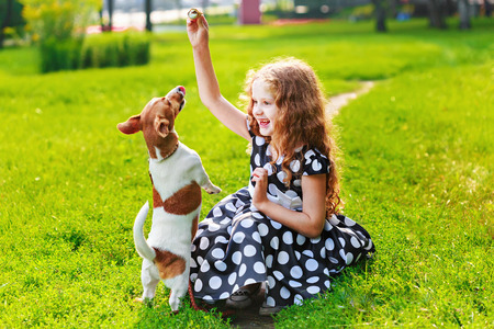 little beautiful young girl in polka dot dress, playing with her puppy jack russell in park. Happy friends leisure outdoors.