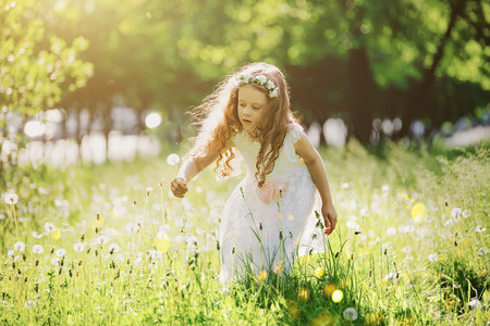 Beautiful girl in white dress collect dandelions in a meadow.