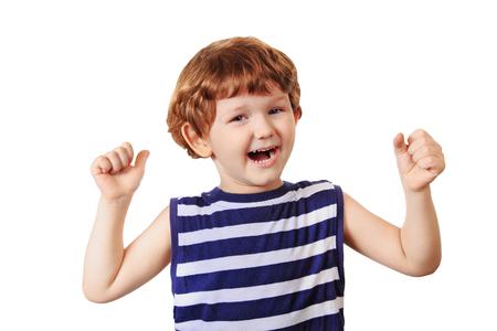 Happy baby isolated on white background. Stock Photo