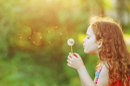 Beautiful little girl enjoying blowing dandelion dreaming  in spring park with copy space. Imagens