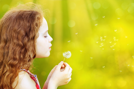 little girl enjoying blowing dandelion dreaming  in spring park with copy space. Stok Fotoğraf