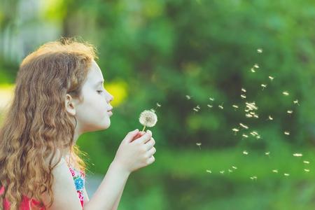 Cute child blowing dandelion in spring park. Healthy, medical concept. Banco de Imagens