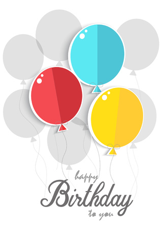 Happy birthday card, colored balloons on white background.