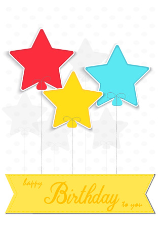 Happy birthday card, colored star on white background.