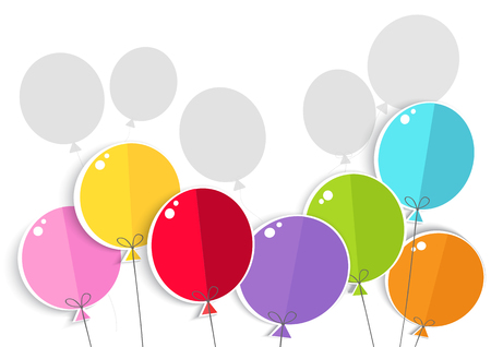 Colored balloons on white background. Illustration