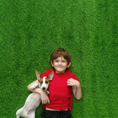 Child embracing puppy jack russell and lying on green carpet. High top view. Foto de archivo - 128854017