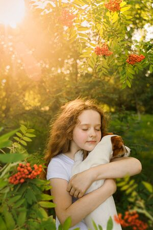 Cute girl with curly hair embraces the puppy under a rowan tree at sunset. Best friend, animal protection concept.