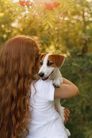 Cute girl with long curly hair embraces the puppy with a view from behind. Lifestyle and healthy concept. Foto de archivo - 128854255