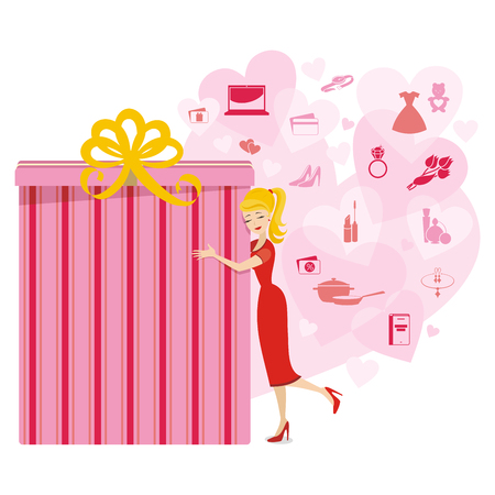 women   s clothes: Vector great gift illustration for women with different variations in pink colors