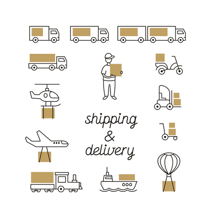 A line icon set with delivery and shipping goods can be used in web banners.
