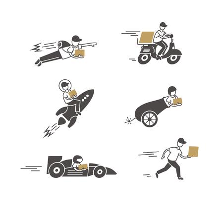 Conjunto de iconos con entrega rápida y envío