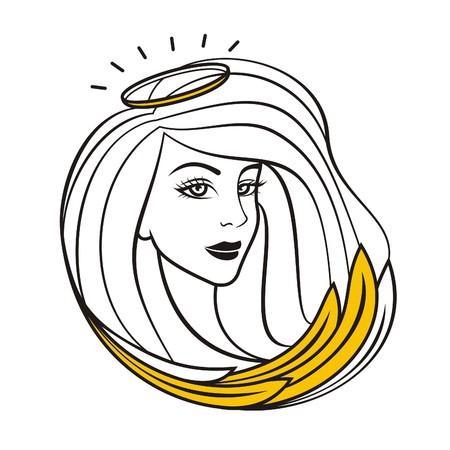 Angel girl vector illustration.