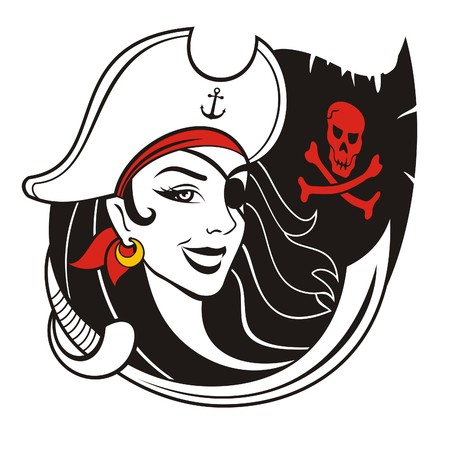 Pirate girl vector illustration. Stock Illustratie