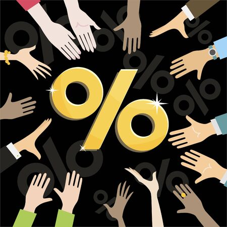 People pull hands to discount