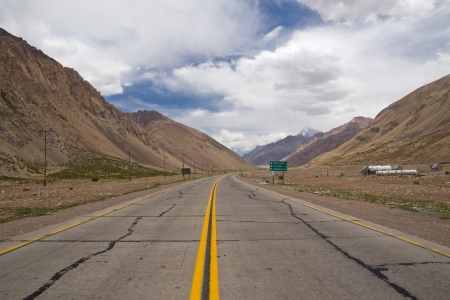 Road through the Andes mountains from Argentina to Chile that leads to the Aconcagua National Park photo
