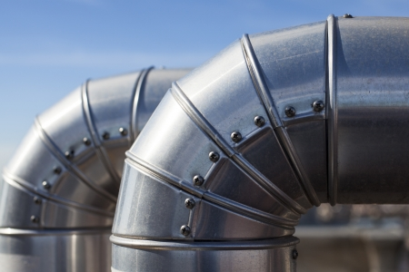 duct: Close us of two ducts at industrial system ventilation Stock Photo