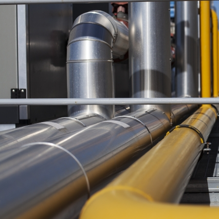 air duct: Heating system Pipelines.  Square format picture Stock Photo