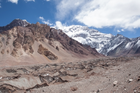 horcones: Climb to Plaza Francia balcony, below Aconcagua south face