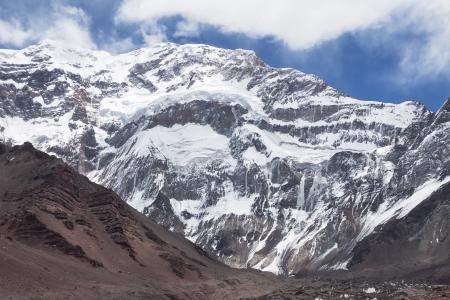 horcones: Aconcagua parete sud paesaggio da Horcones Glaciar Aconcagua Parco Nazionale Argentina Archivio Fotografico