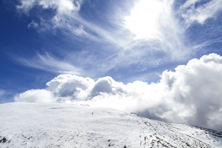 climatology: Cirrus and cumulus clouds over snowed mountains at the pyrenees