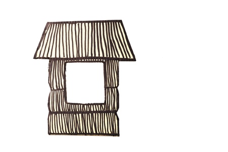 a house with a straw: Cartoon like straw house made with recycled cardboard