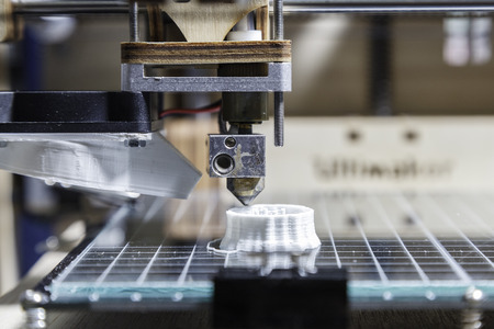 imprenta: Detalle de impresi�n 3D Foto de archivo