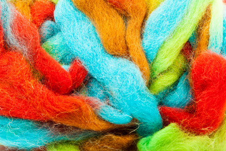 Foreground of colored wool photo
