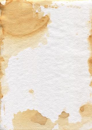 古いよれよれの紙。紙の粒状のテクスチャです。紅茶の汚れ。