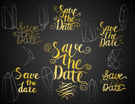 Save the Date Lettering Gold Set and Triangle Crystals Set