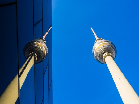 berlin tv tower with reflection