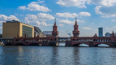 ship and train at the oberbaum bridge, berlin