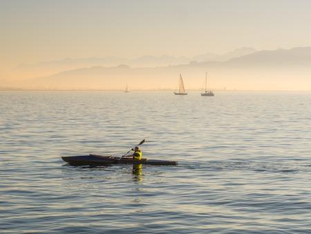 kayaker at lake constance