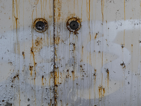 details of a rusty iron locker