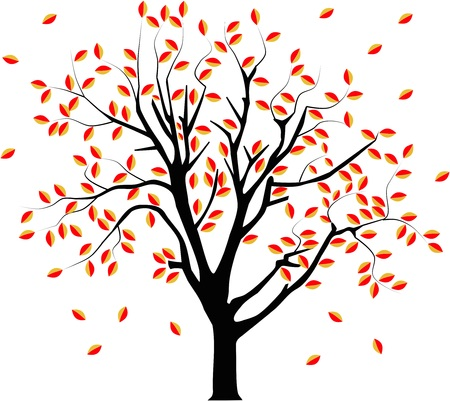 Vector image of a tree in autumn with falling leafs.