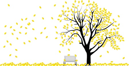 vector image of a tree in autumn with falling leafs