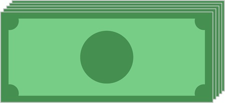 Illustration of a bundle of banknotes without label