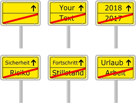 Typical German Town Exit Sign with different text samples Vectores