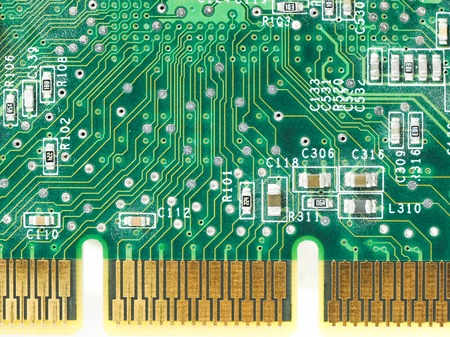 macro close-up of a graphic card board (with small amounts of dust)