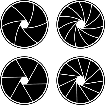 closed aperture with 6/11 blades and different styles  イラスト・ベクター素材