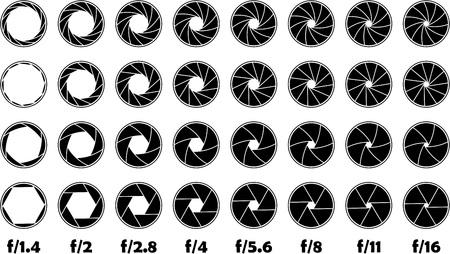 Diafragma f-nummer illustratie.