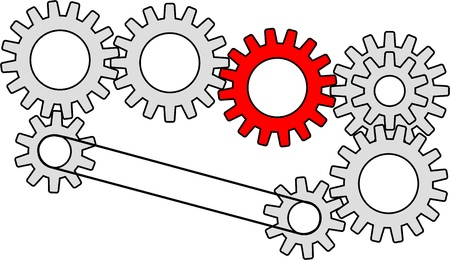 set of gearwheels with one gear colored red Illustration