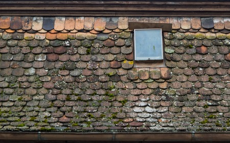 Old mossy roof tiles with a small window Banco de Imagens