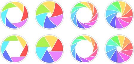 Colletction d'ouvertures ouvertes avec 6/11 lames colorées arc en ciel Banque d'images - 94732977