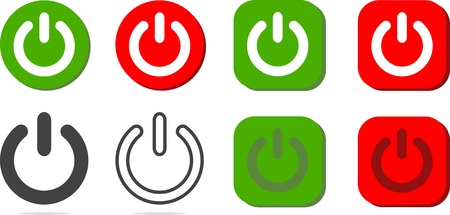 Different colored power buttons on white background. Vector illustration. Banco de Imagens - 94733033