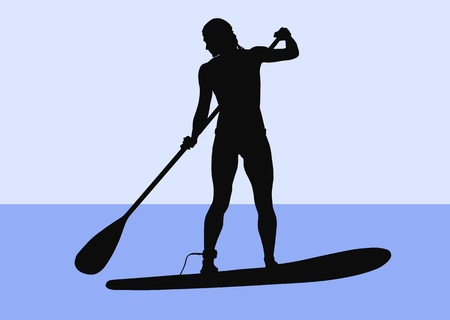 Silhouette of a female stand-up paddler. Illustration