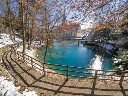 view on the well Blautopf in Blaubeuren, Germany Stock Photo