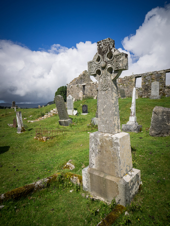 Unnamed celtic gravestone in the scottish highlands