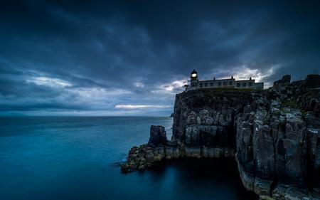 Neist Point Lighthouse at night