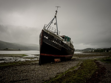 Old shipwreck at the scottish coast near Fort William