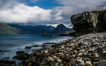 Coast at Elgol, Isle of Skye with view on the Cuillin Hills